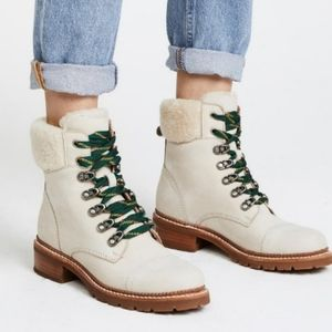 Frye Samantha Hiker Shearling Ivory Ankle Boot 7